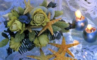 Гребень украшенный сухими цветами