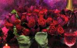 Свадебная композиция в рубиновых тонах