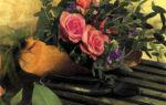 Букетик из роз с перевязью