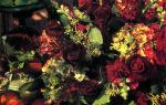 Украшение для стола из плодов и цветов