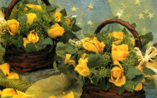 Корзинка с желтыми розами для подружки невесты